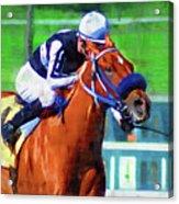 Racehorse And Jockey Acrylic Print