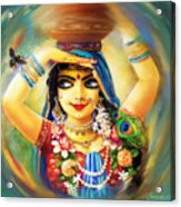 Radha And Bumblebee Acrylic Print by Lila Shravani