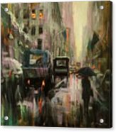 Rainy At Radio City Music Hall Acrylic Print