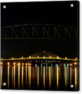 Railroad And Bourne Bridge At Night Cape Cod Acrylic Print