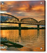 Railroad Bridge At Sunrise Acrylic Print by Steven Ainsworth
