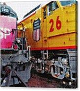 Railroad Museum Triptych Acrylic Print by Steve Ohlsen