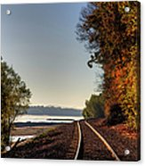 Railroad Track By The Mississippi  Acrylic Print