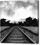 Railroad Tracks - Charcoal Acrylic Print