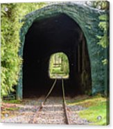 The Railway Passing Through The Tunnel To Meet The Light Acrylic Print