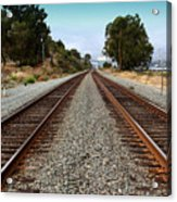 Railroad Tracks With The New Alfred Zampa Memorial Bridge And The Old Carquinez Bridge In Distance Acrylic Print