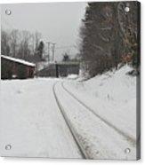 Rails In Snow Acrylic Print
