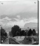 Railway Into The Clouds Bw Acrylic Print