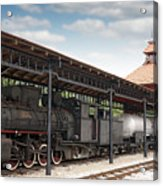 Railway Station With Old Steam Locomotive Acrylic Print