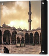 Rain At The Blue Mosque Acrylic Print