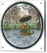 Rain Gnome Rain Circle Acrylic Print