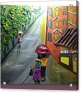 Rain Nature And Street  Acrylic Print