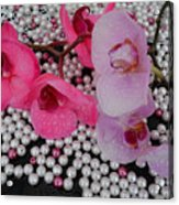 Rain On Orchids Acrylic Print