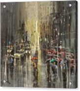 Rain On Wisconsin Avenue Acrylic Print