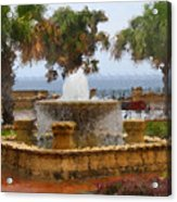 Rain Soaked Fountain Acrylic Print