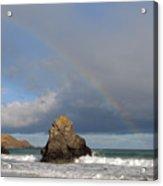Rainbow Above Sango Bay Sea Stack Acrylic Print