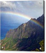 Rainbow Along The Na Pali Coast Kauai Hawaii From The Kalalau Lookout Acrylic Print