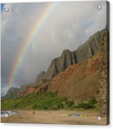 Rainbow At Kalalau  Acrylic Print