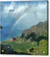 Rainbow At Kalalau Valley Acrylic Print