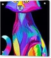 Rainbow Cat Acrylic Print