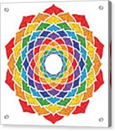 Rainbow - Crown Chakra - Pointillism Acrylic Print by David Weingaertner