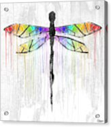 Abstract Dragonfly - White Rainbow Acrylic Print