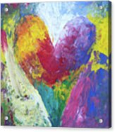 Rainbow Heart In The Cloud Acrylic Paintings Acrylic Print