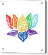 Rainbow Lotus I AM ART- Art by Linda Woods Acrylic Print