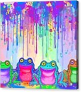 Rainbow Of Painted Frogs Acrylic Print