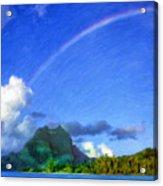 Rainbow Over Bora Bora Acrylic Print