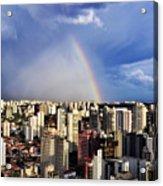 Rainbow Over City Skyline - Sao Paulo Acrylic Print