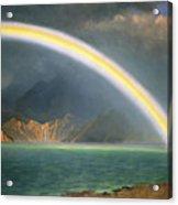 Rainbow Over Jenny Lake Wyoming Acrylic Print by Albert Bierstadt