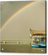 Rainbow Over The Danube In Tulln Austria Acrylic Print