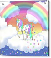Rainbow Unicorn Clouds And Stars Acrylic Print