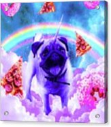 Rainbow Unicorn Pug In The Clouds In Space Acrylic Print