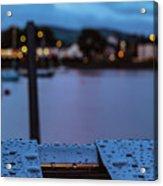 Raindrops On Metal Bench 5 Acrylic Print