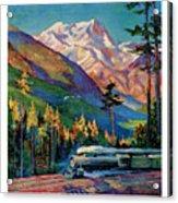 Rainier National Park Vintage Poster Restored Acrylic Print