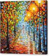 Rainy Autumn Evening In The Park Acrylic Palette Knife Painting Acrylic Print