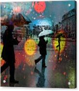 Rainy City Scene Acrylic Print