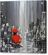 Rainy Day City Girl In Red Acrylic Print