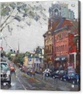 Rainy Day In Downtown Brampton On Acrylic Print