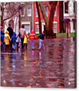 Rainy Day Rainbow - Children At Independence Square Acrylic Print