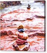 Rainy Day Stone Cairns In Sedona Acrylic Print