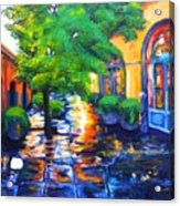 Rainy Dutch Alley Acrylic Print