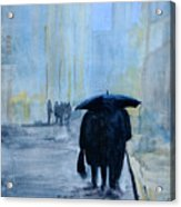 Rainy Evening Walk. Acrylic Print