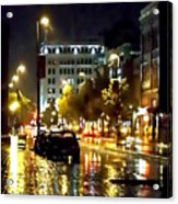 Rainy Night In Green Bay Acrylic Print