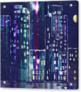 Rainy Night In The City Acrylic Print by Arline Wagner