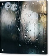 Rainy Window City Lights Acrylic Print