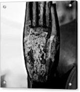 Raised Buddha Hand - Black And White Acrylic Print