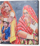 Rajasthani Ladies With Traditional Jewelry Acrylic Print